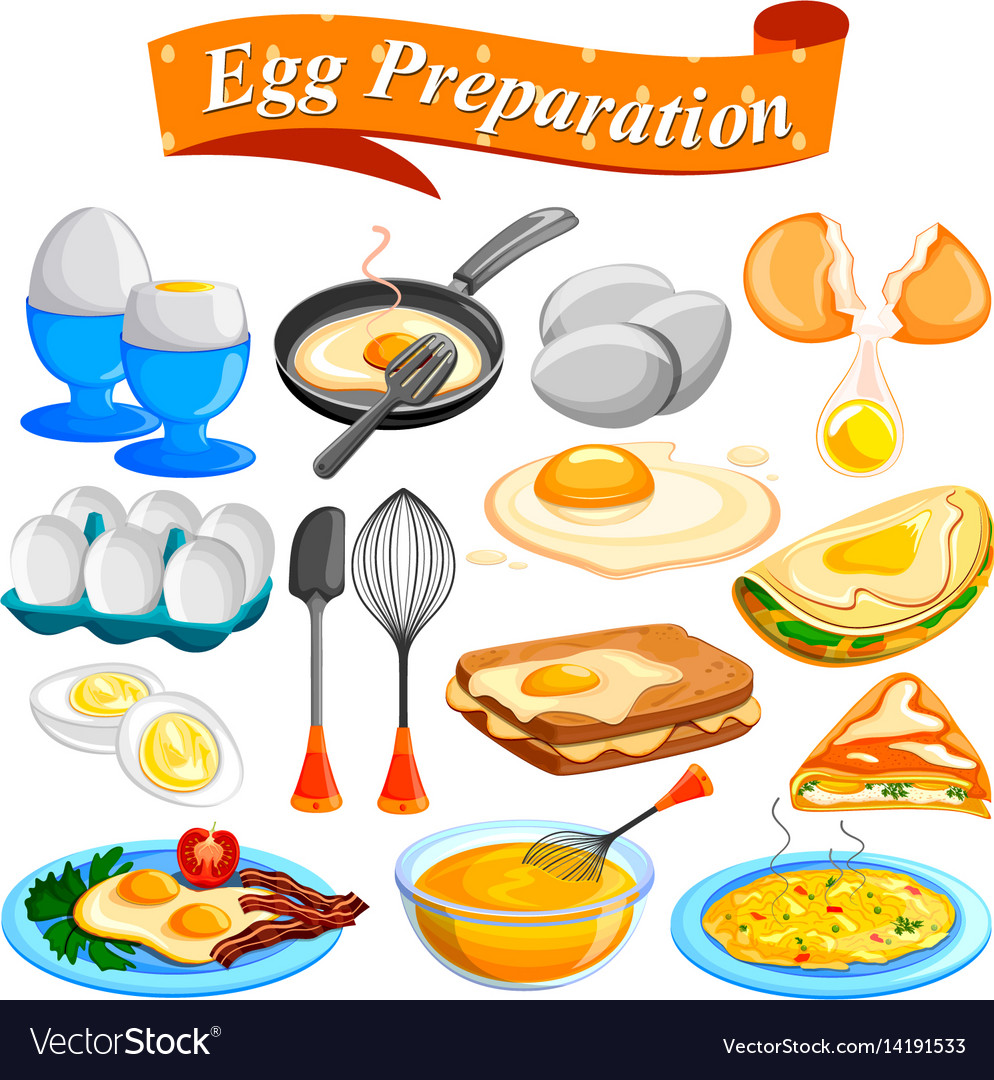Different delicious egg preparation food dishes