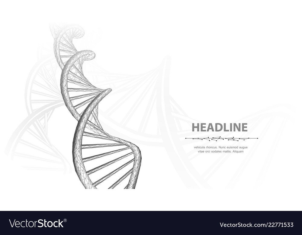 Dna abstract 3d polygonal wireframe molecule