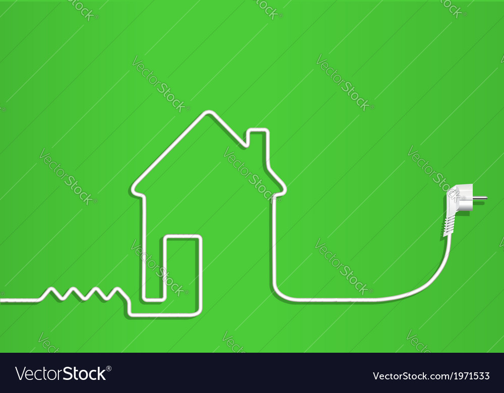 Electric wire with plug Royalty Free Vector Image