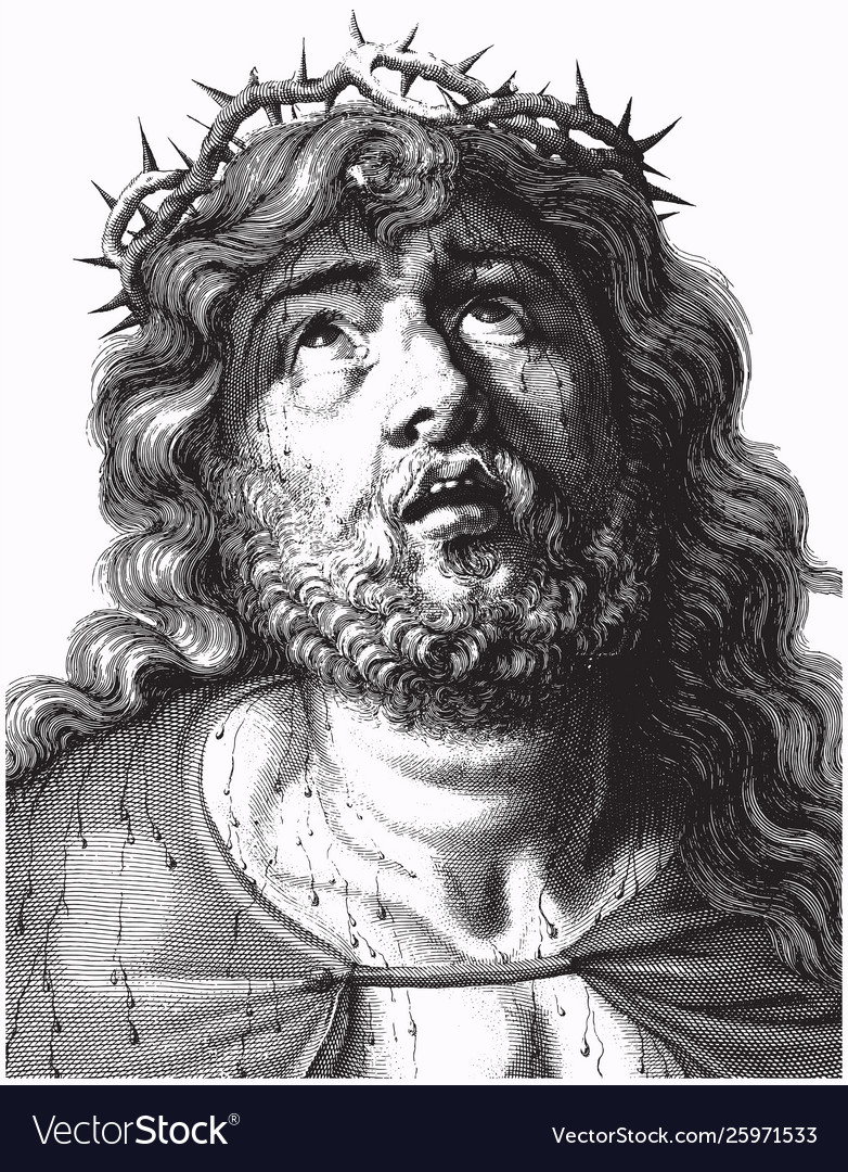 Engraving jesus christ with crown thorns
