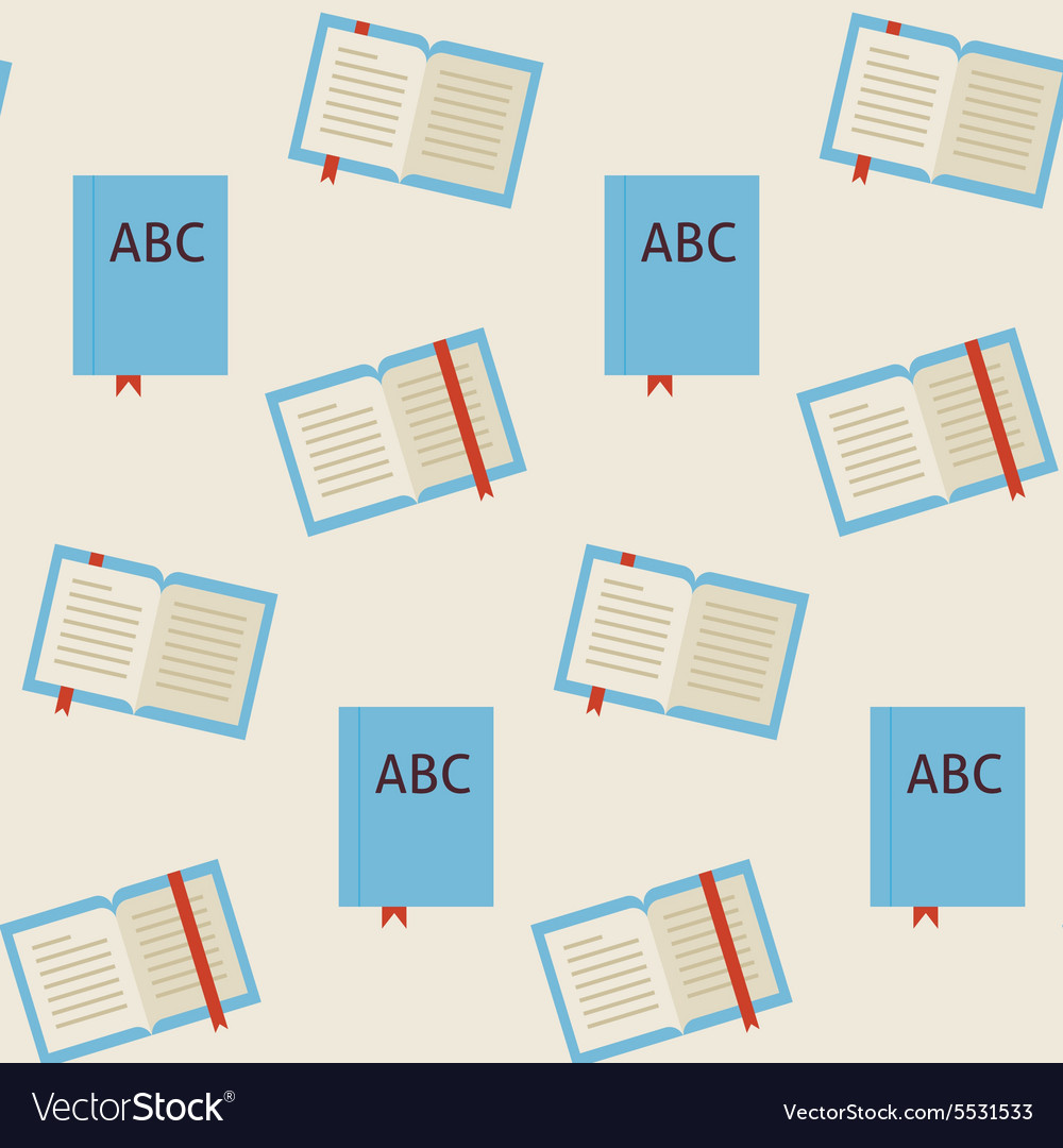 Flat seamless pattern school and library reading