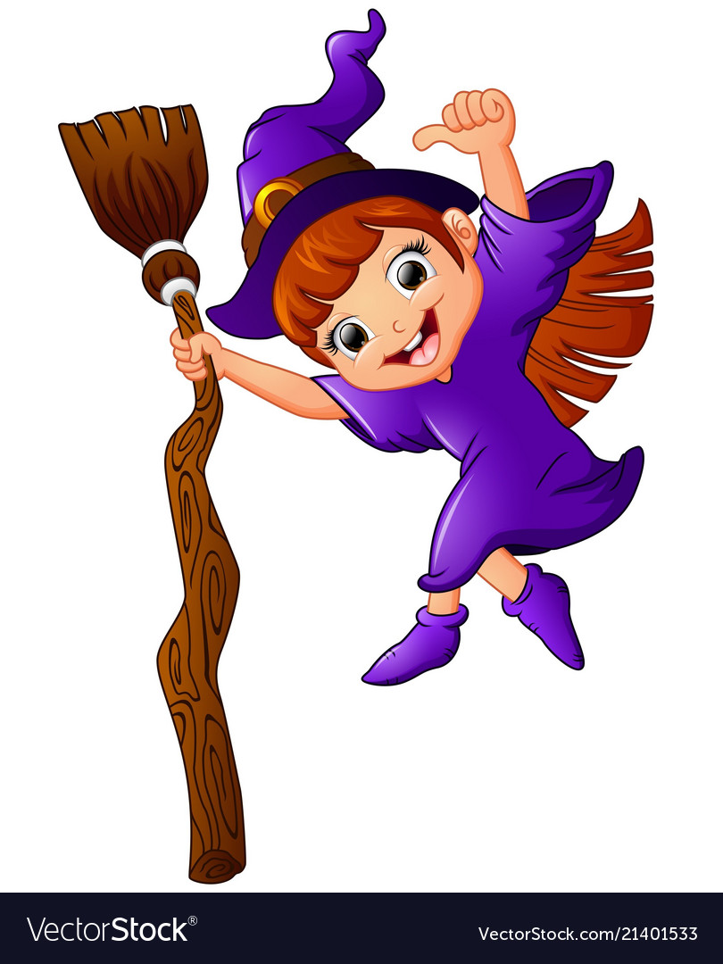 Little witch cartoon holding broom and giving thum