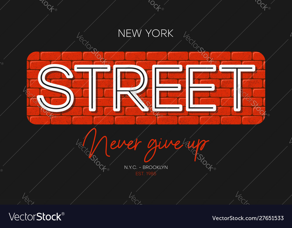 New york t-shirt print with slogan - never give