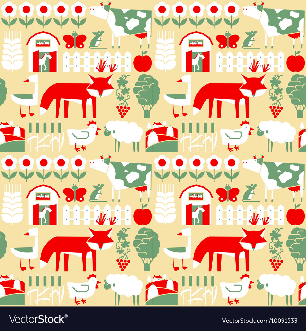 Seamless pattern with farm and cute animals