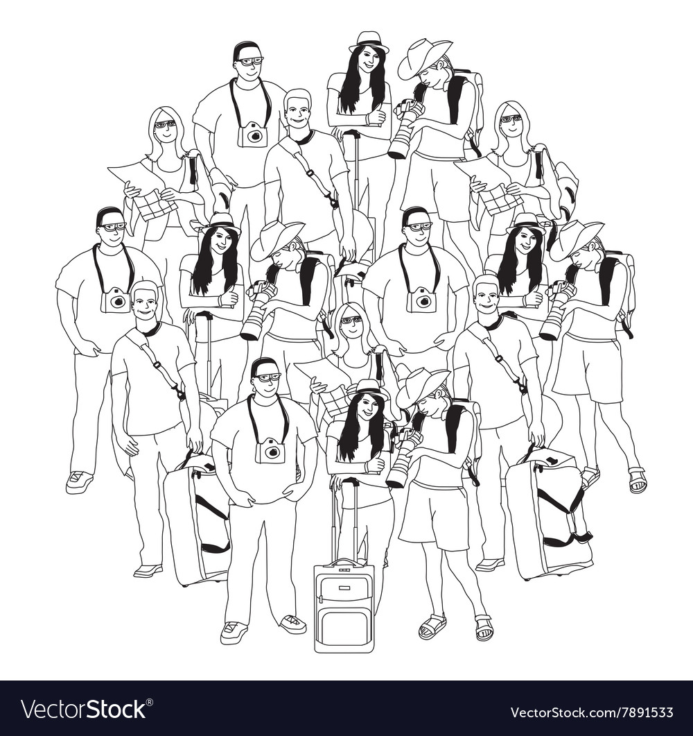 Tourism travel group people black isolate white vector image