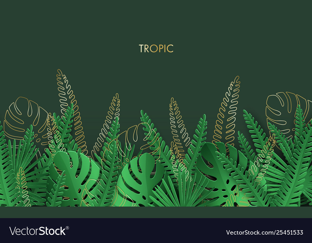 Tropical Background With Jungle Plants And Golden