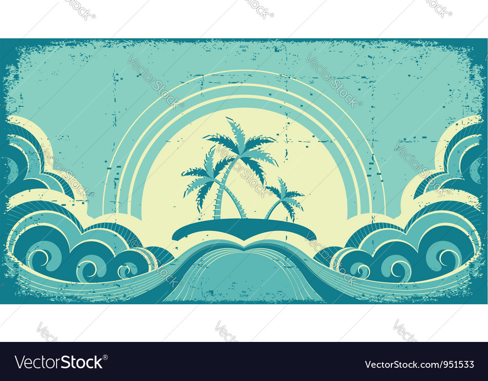 Vintage seascape with tropical palmsnature image