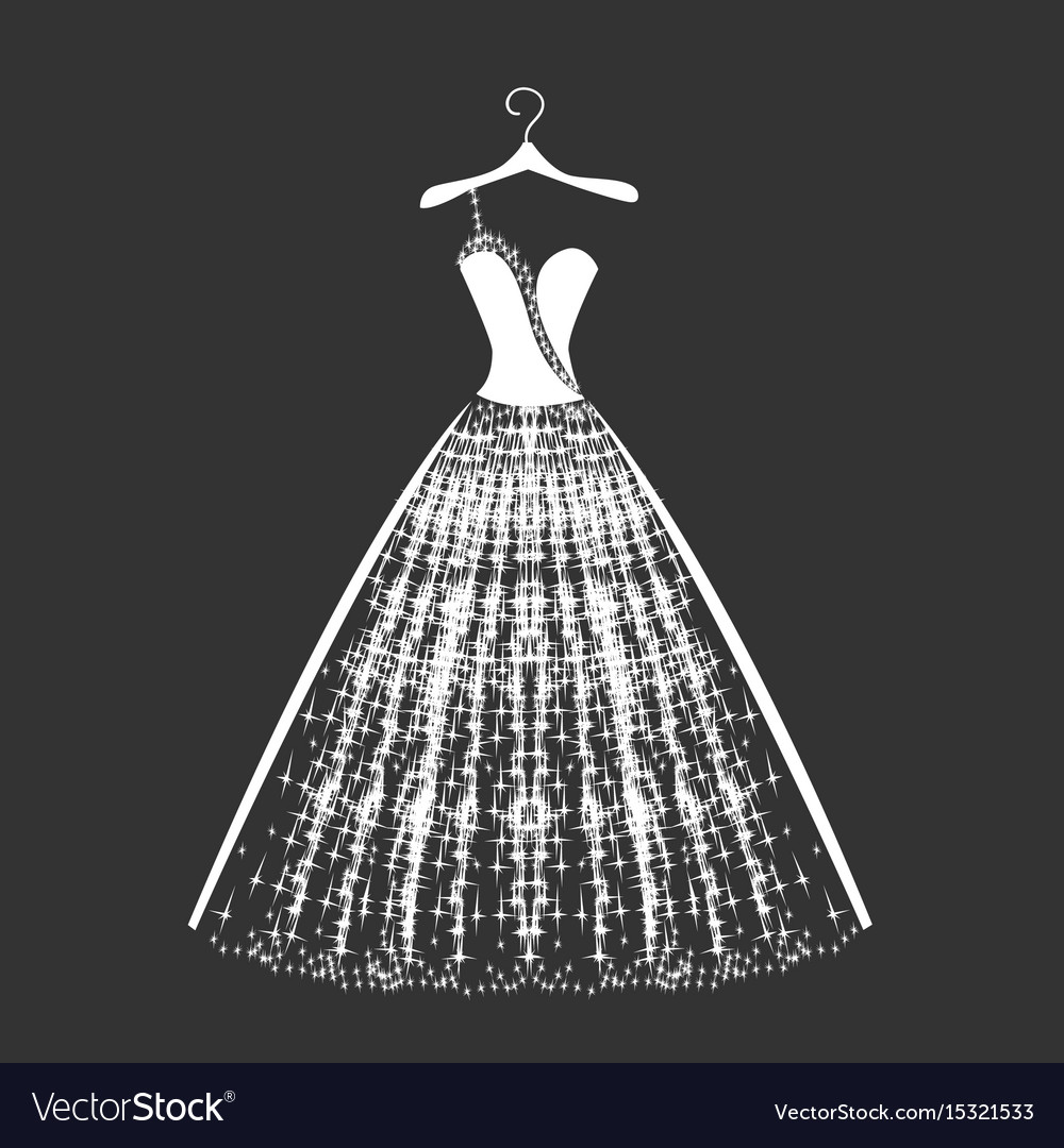 Wedding dress silhouette Royalty Free Vector Image