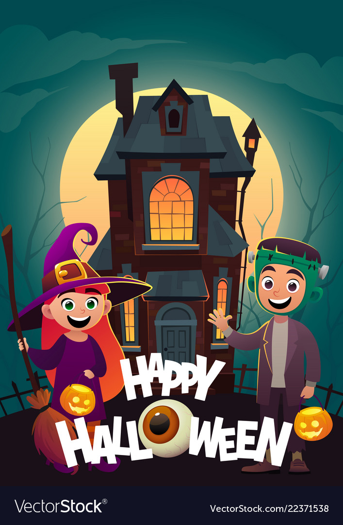 Children in monster costumes witch and
