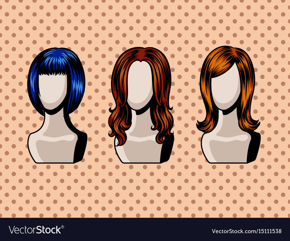 Female wigs comic book style