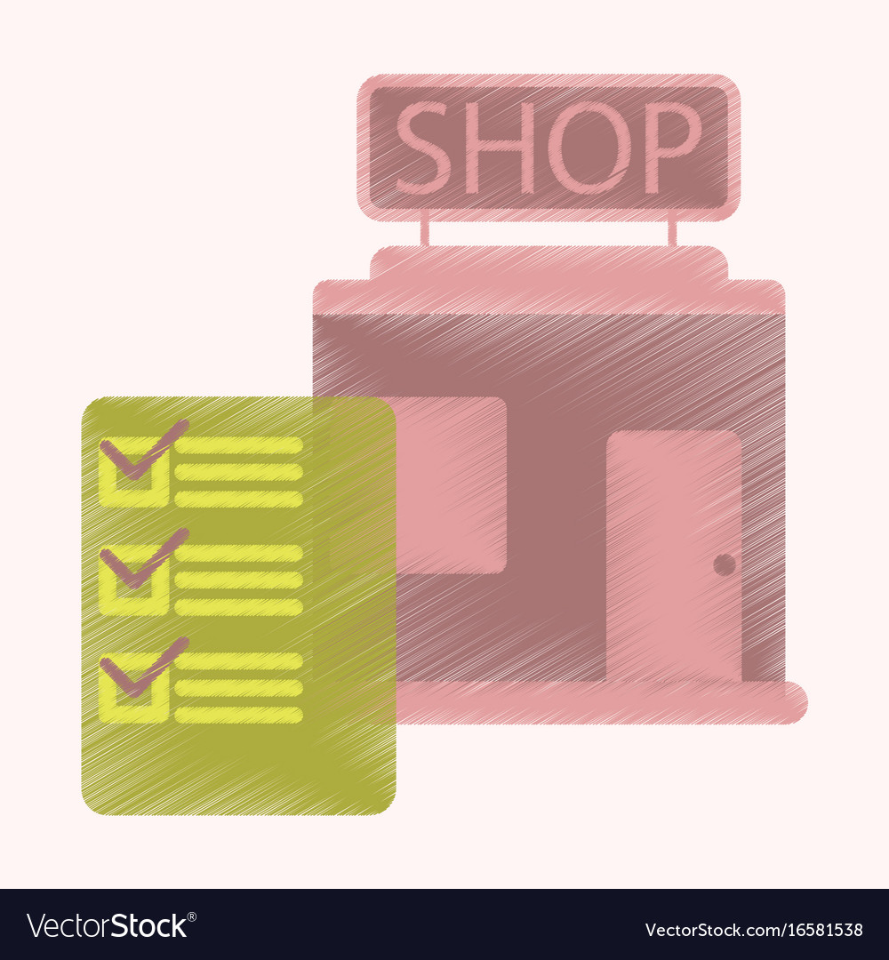 Flat icon in shading style shop form