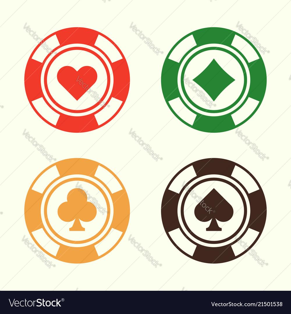 Gambling poker chips set design elements