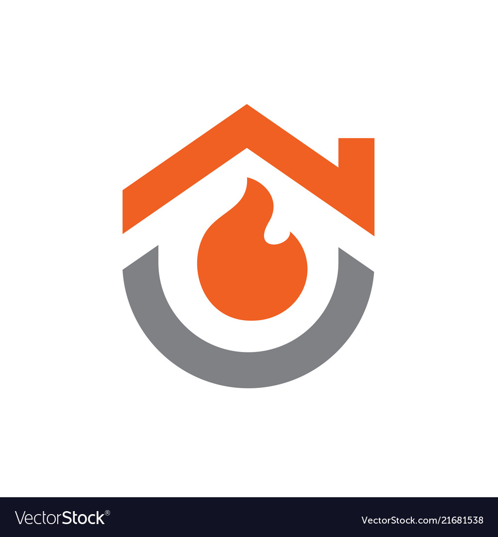 House combined with fire logo or icon design