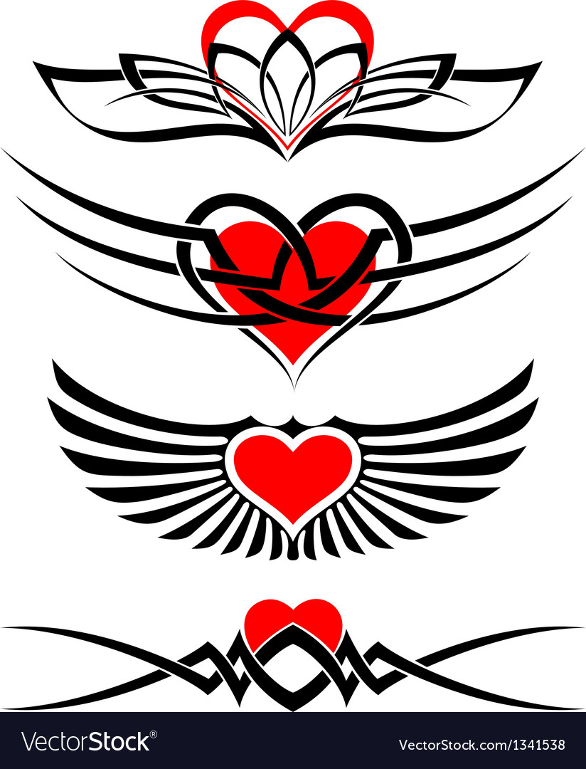 Love tattoo set vector image