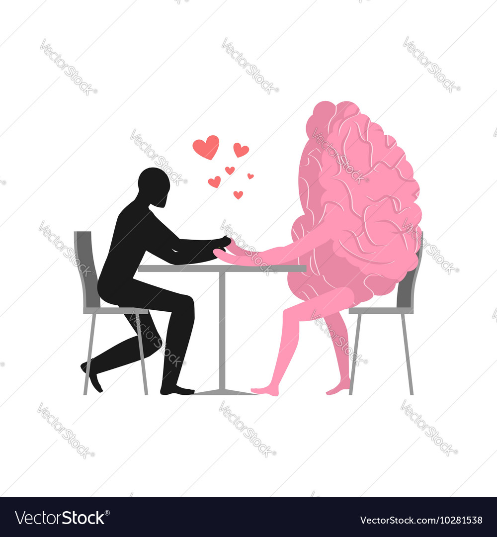 Lover in cafe Man and hot dog is sitting at table