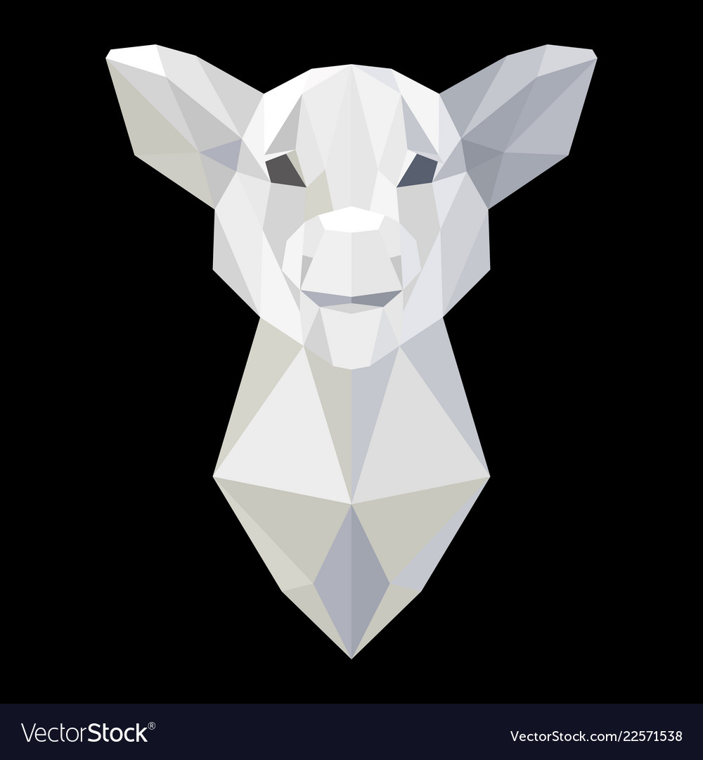 Pig head polygonal white model