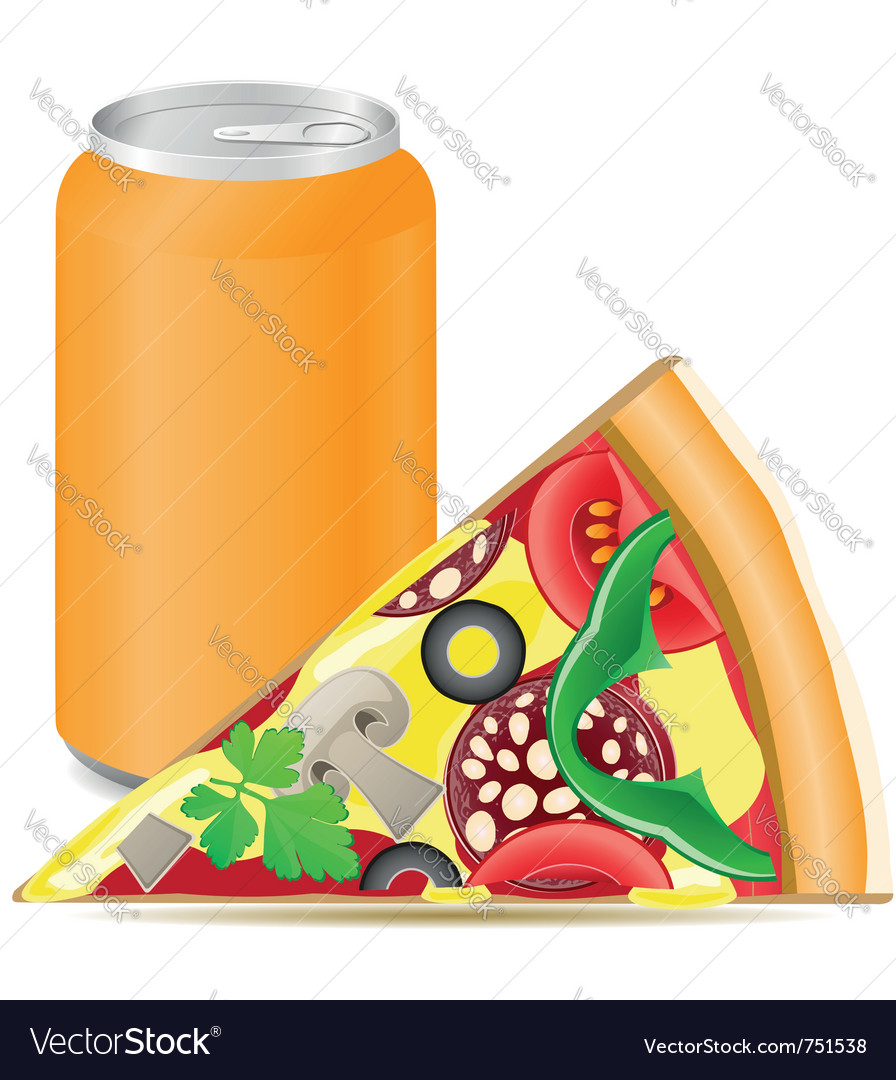 Pizza and aluminum cans with soda
