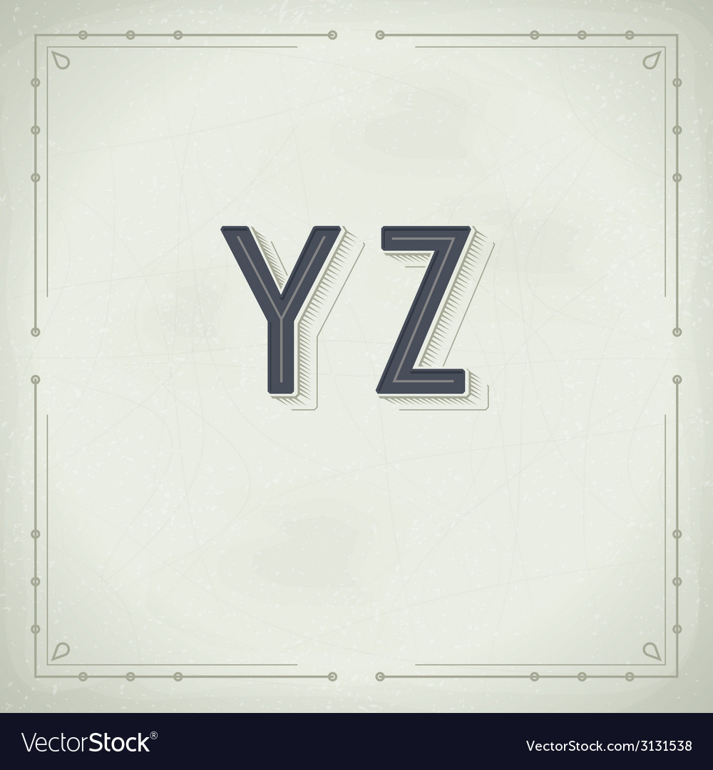 Retro Font from Y to Z Vintage Typography