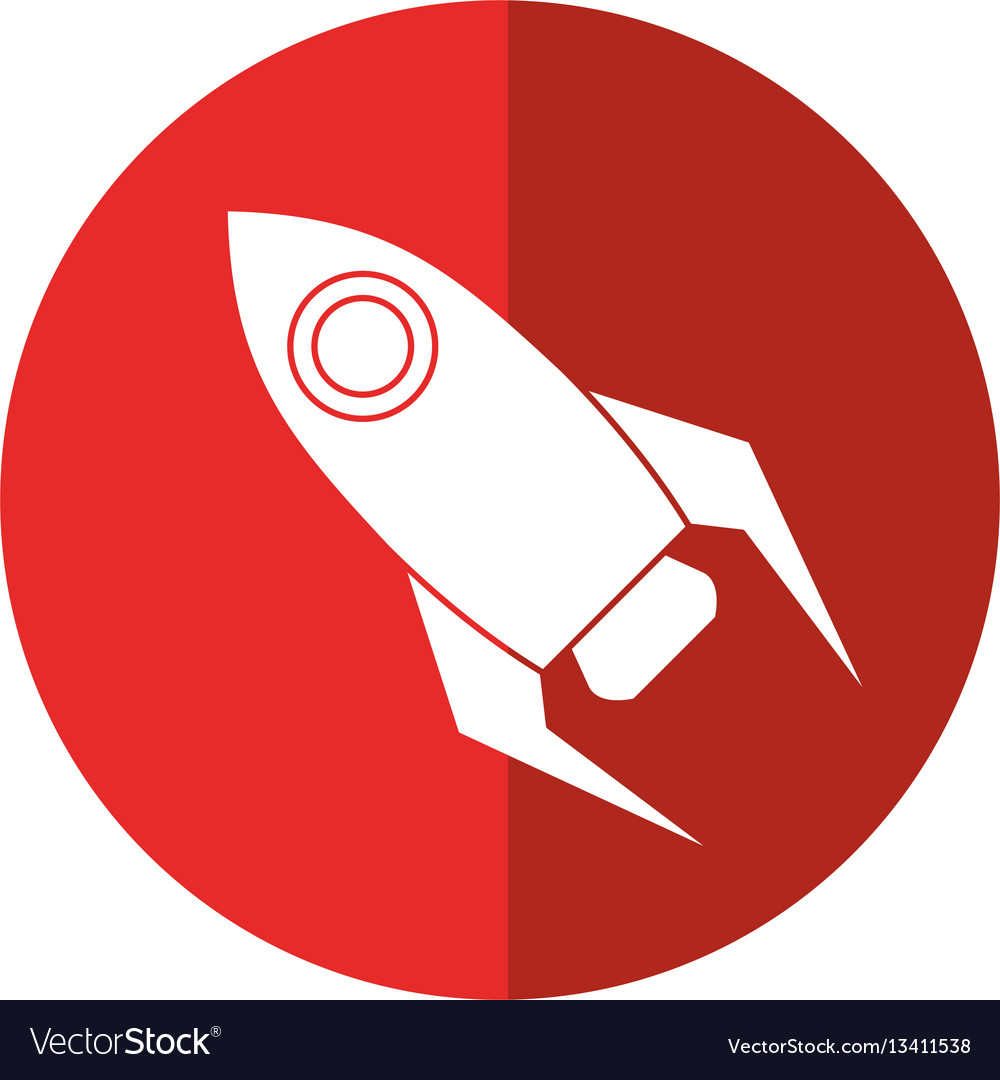 Rocket startup launch icon shadow vector image