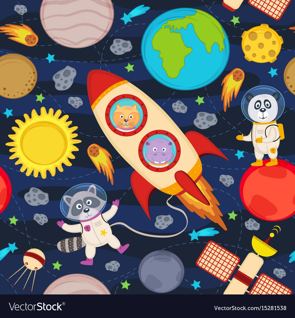 Seamless pattern with rocket and animals vector image