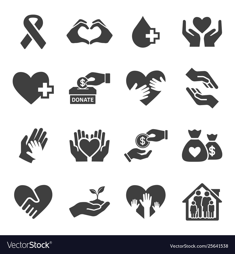Set charity and donate icon set