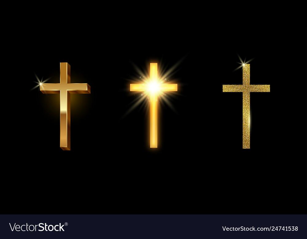 Set golden latin cross shining glitter gold