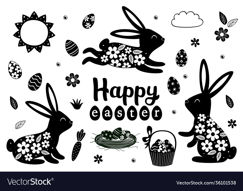 Set isolated black easter bunny and eggs vector