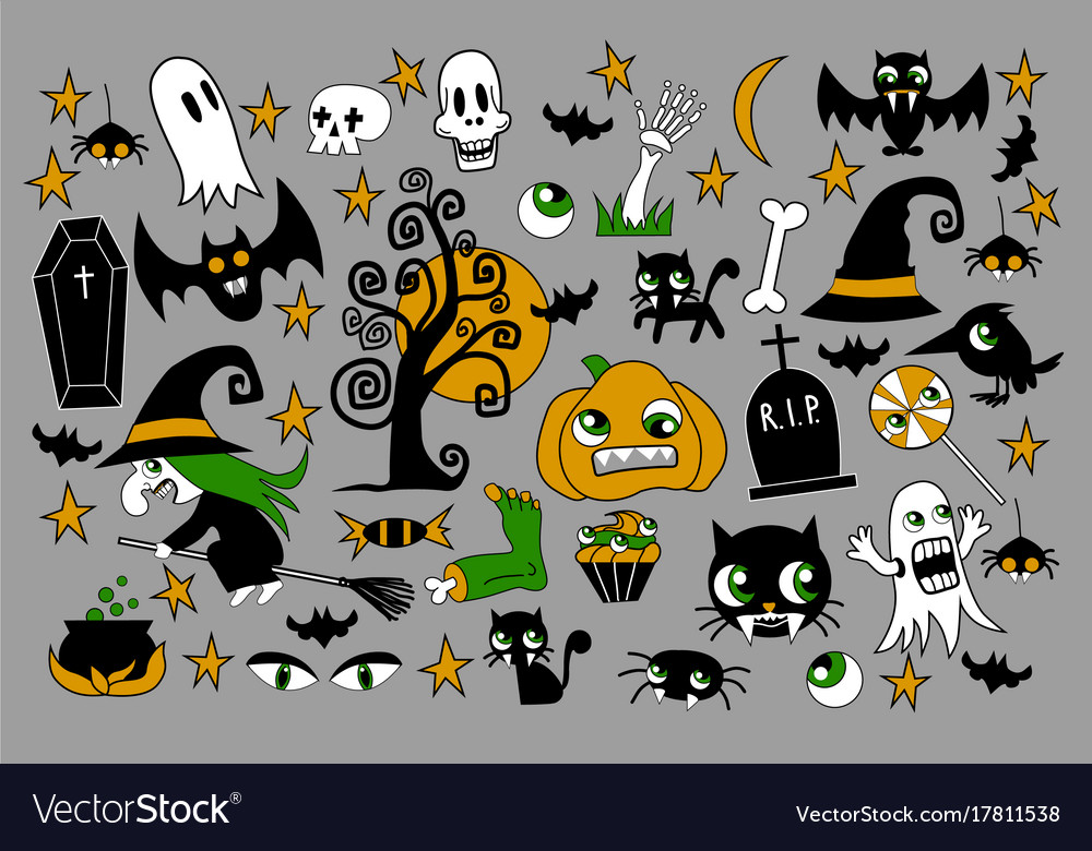 Set of halloween element patches pumpkin