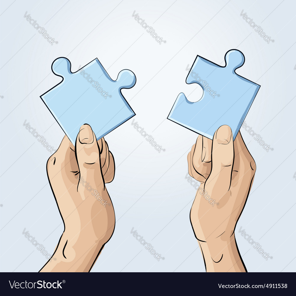 Two hands holding pieces of the puzzle vector image