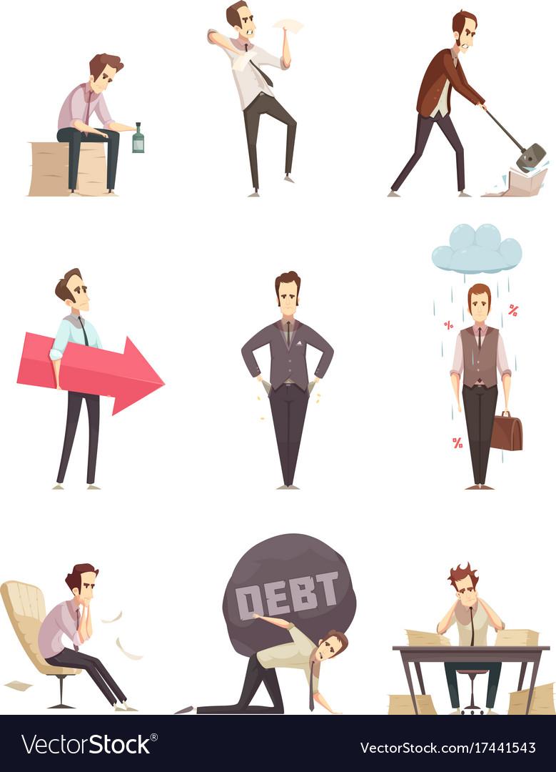 Business failure retro cartoon icons