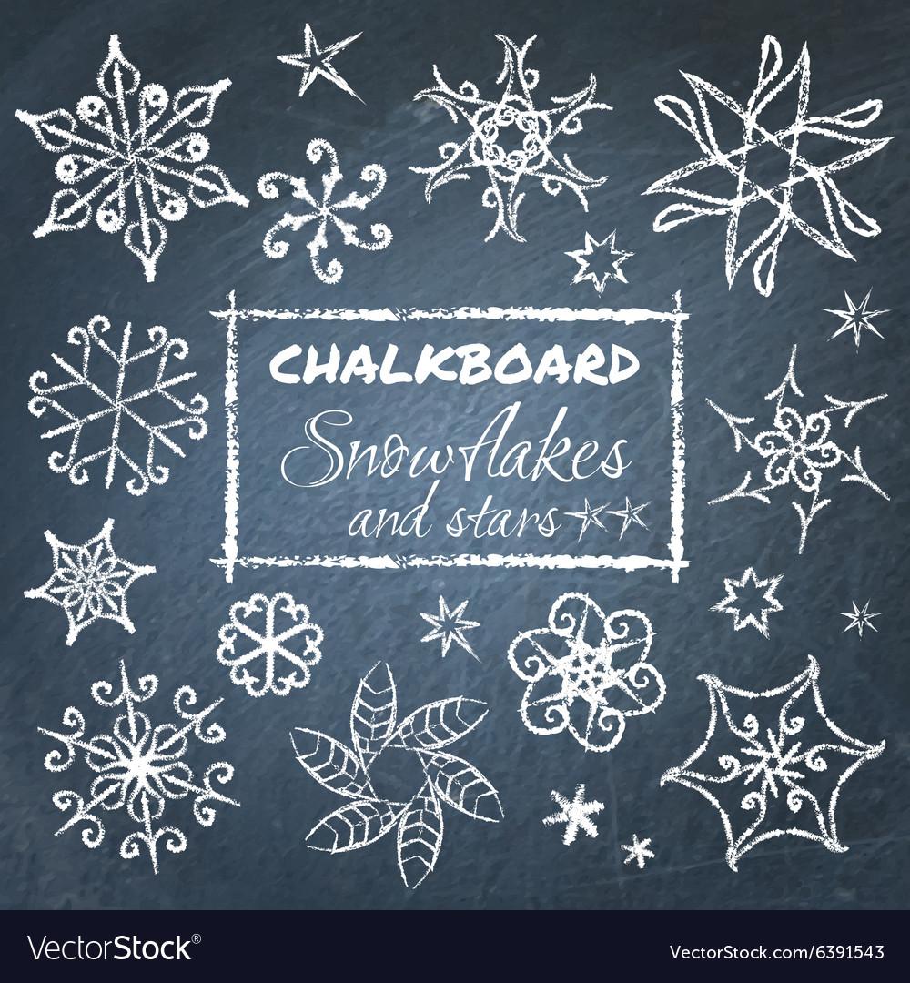 Chalkboard set of snowflakes