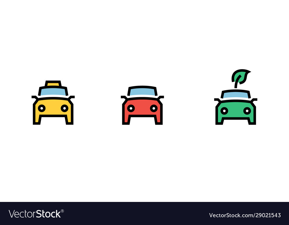 City cars icons set yellow taxi green eco red
