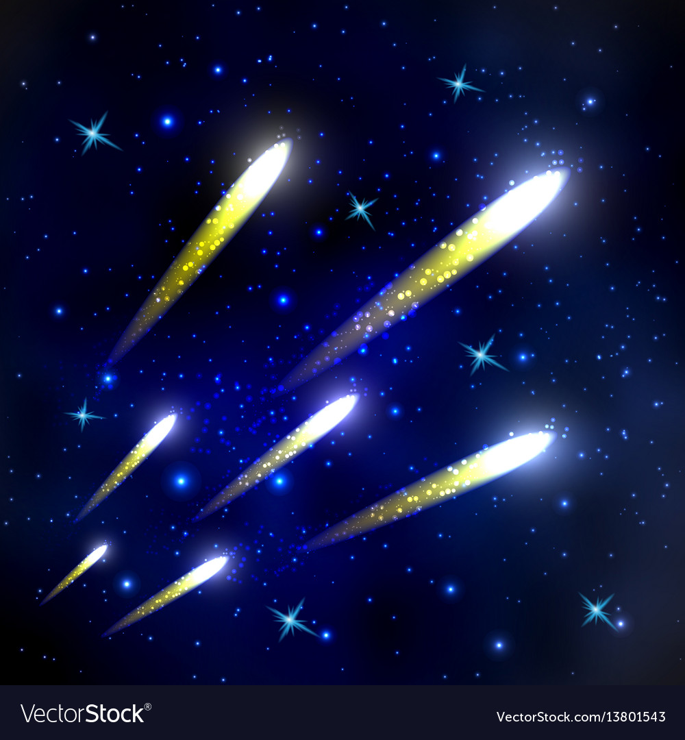 Comets flying through space and starry sky