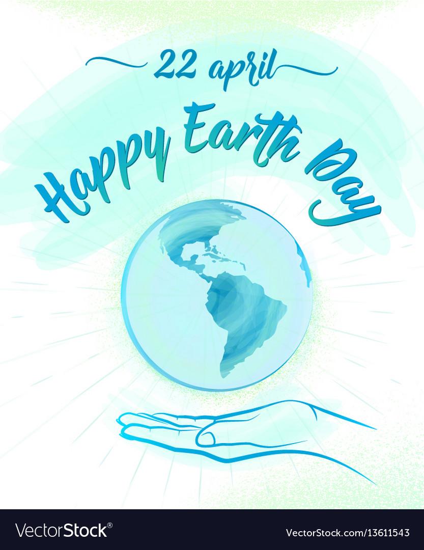 Earth globe and human hand