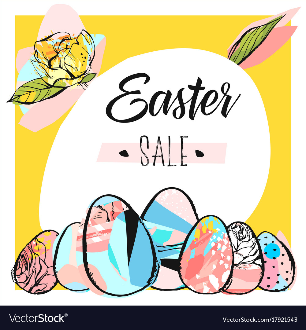 Hand drawn abstract creative easter sale