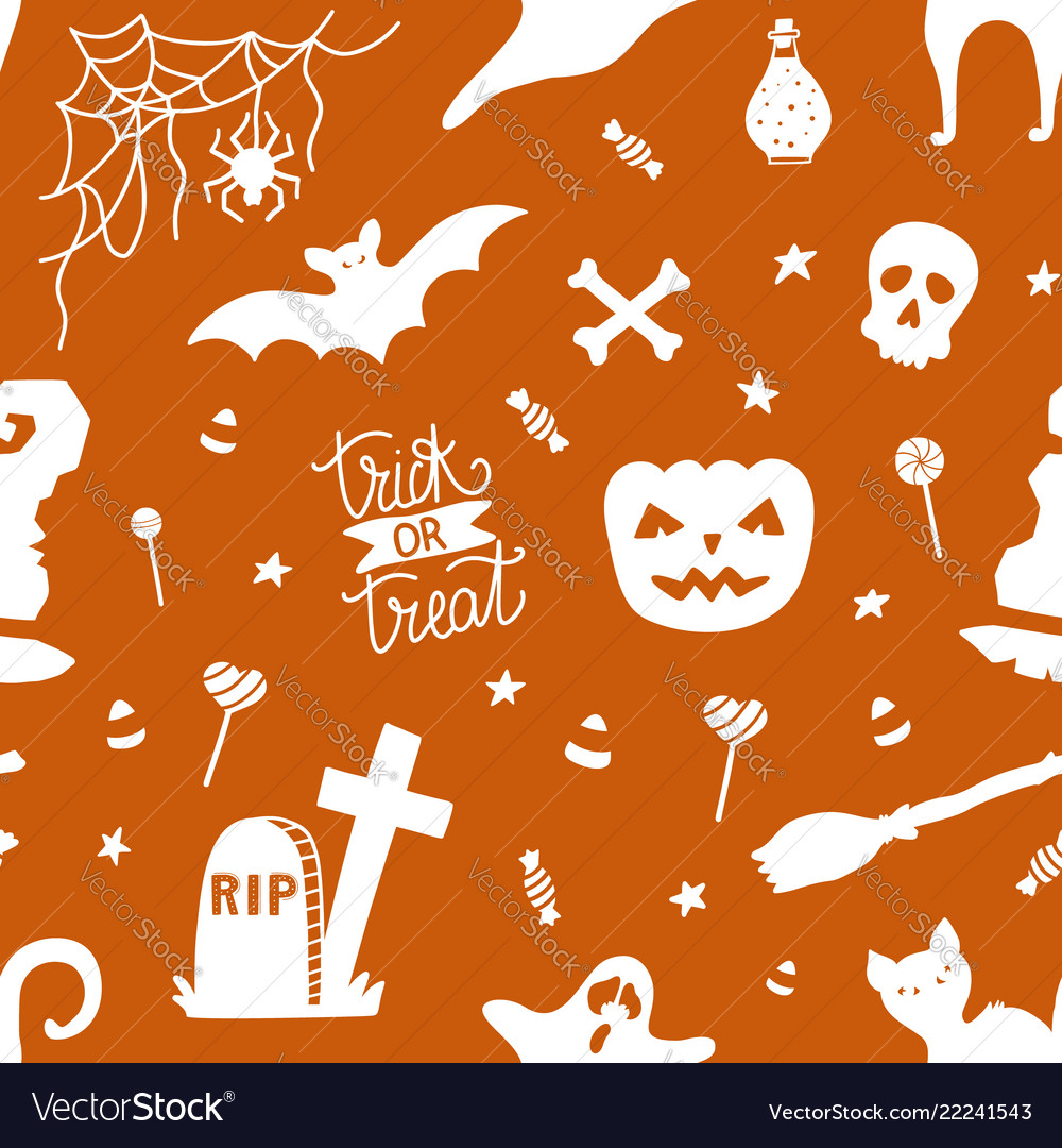 Hand drawn seamless pattern for halloween with