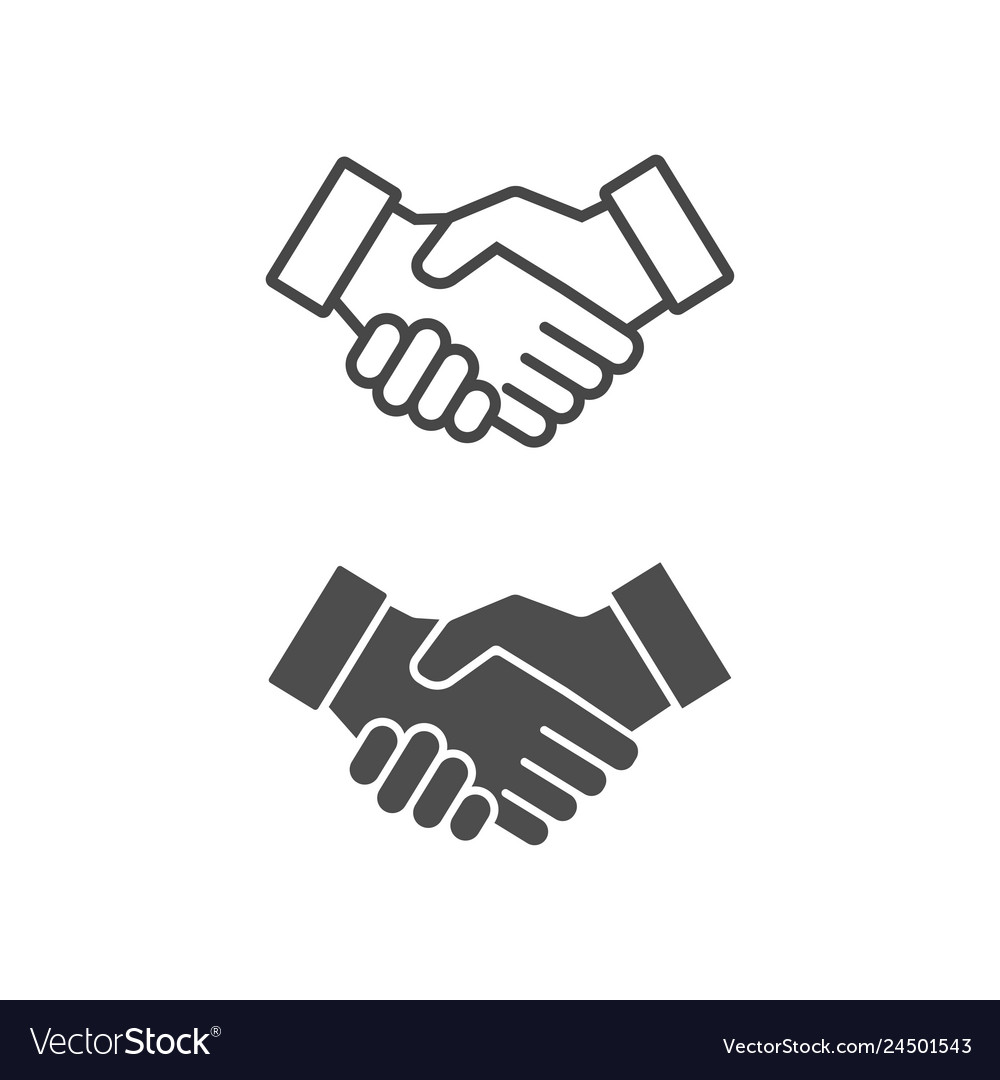 Handshake icon lined and filled style
