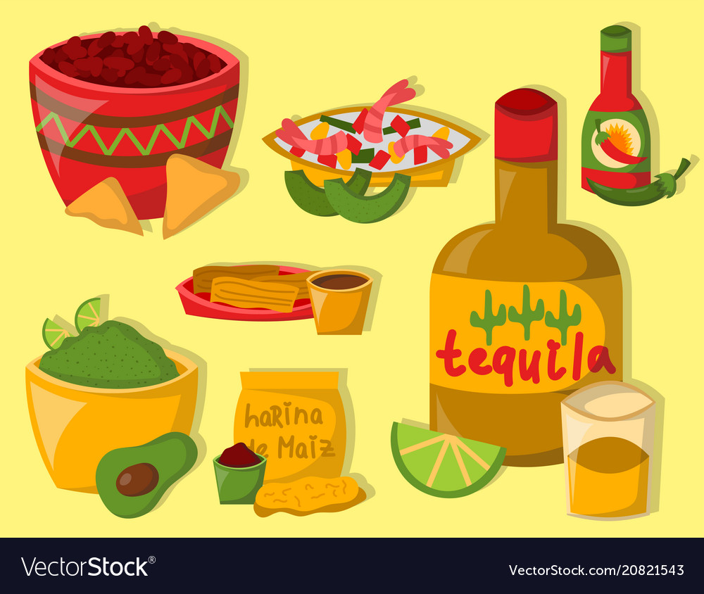 Mexican traditional food with meat avocado tequila