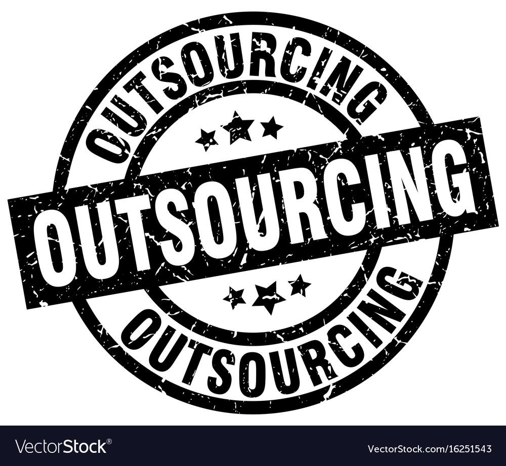 Outsourcing round grunge black stamp