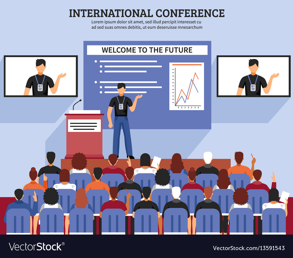Presentation conference hall composition vector image
