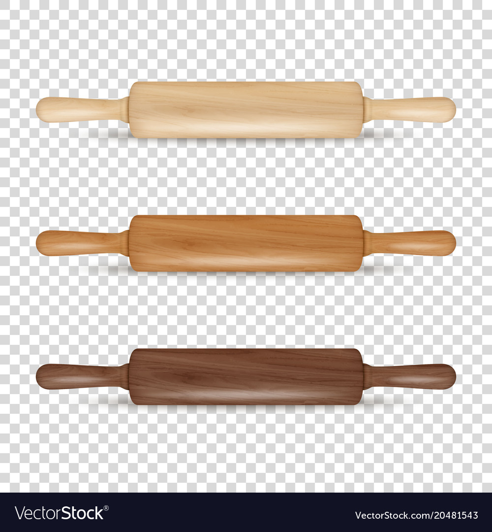 Realistic 3d wooden rolling pin icon set vector image