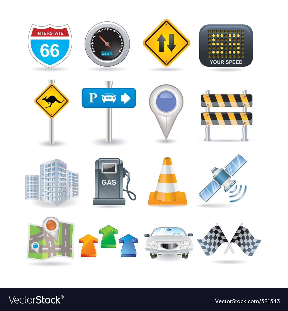 Road and car icon set