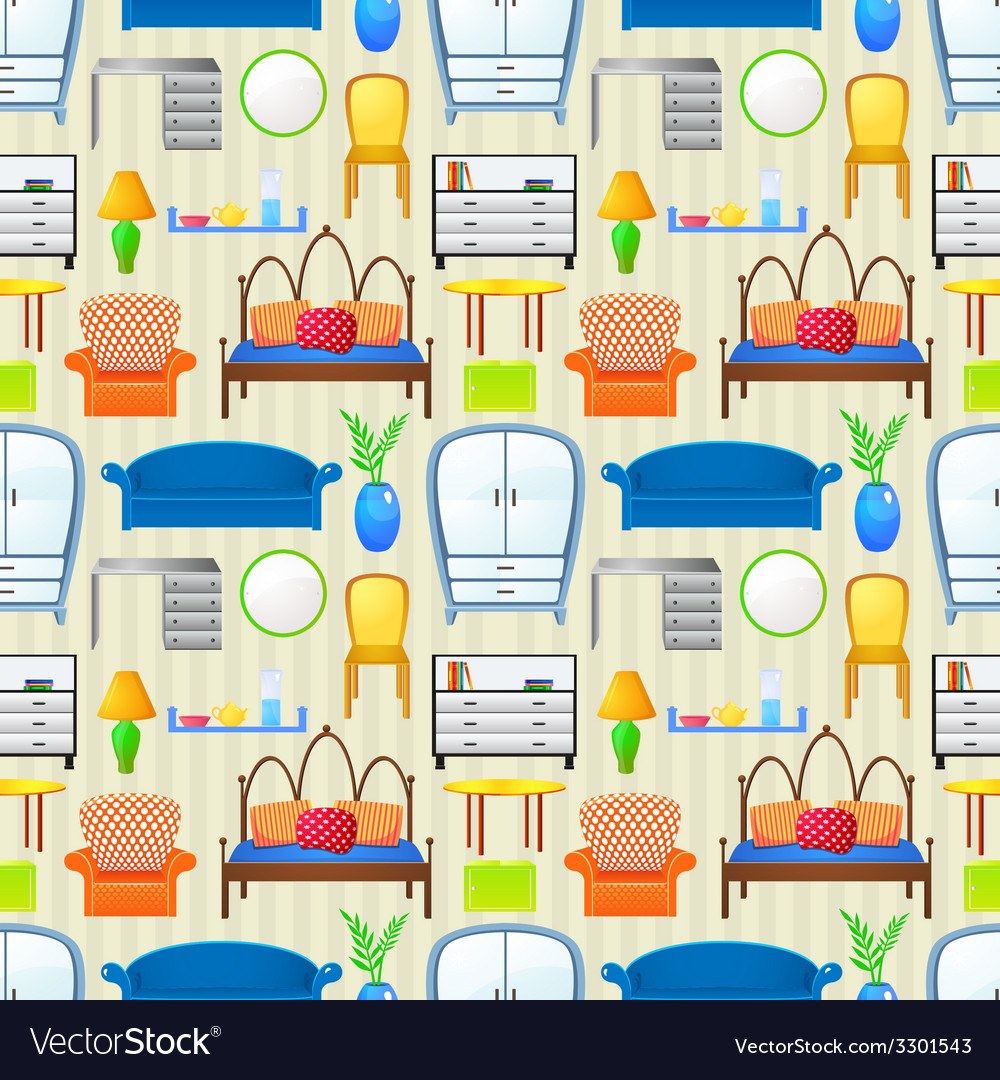 Seamless pattern with elements furniture vector image