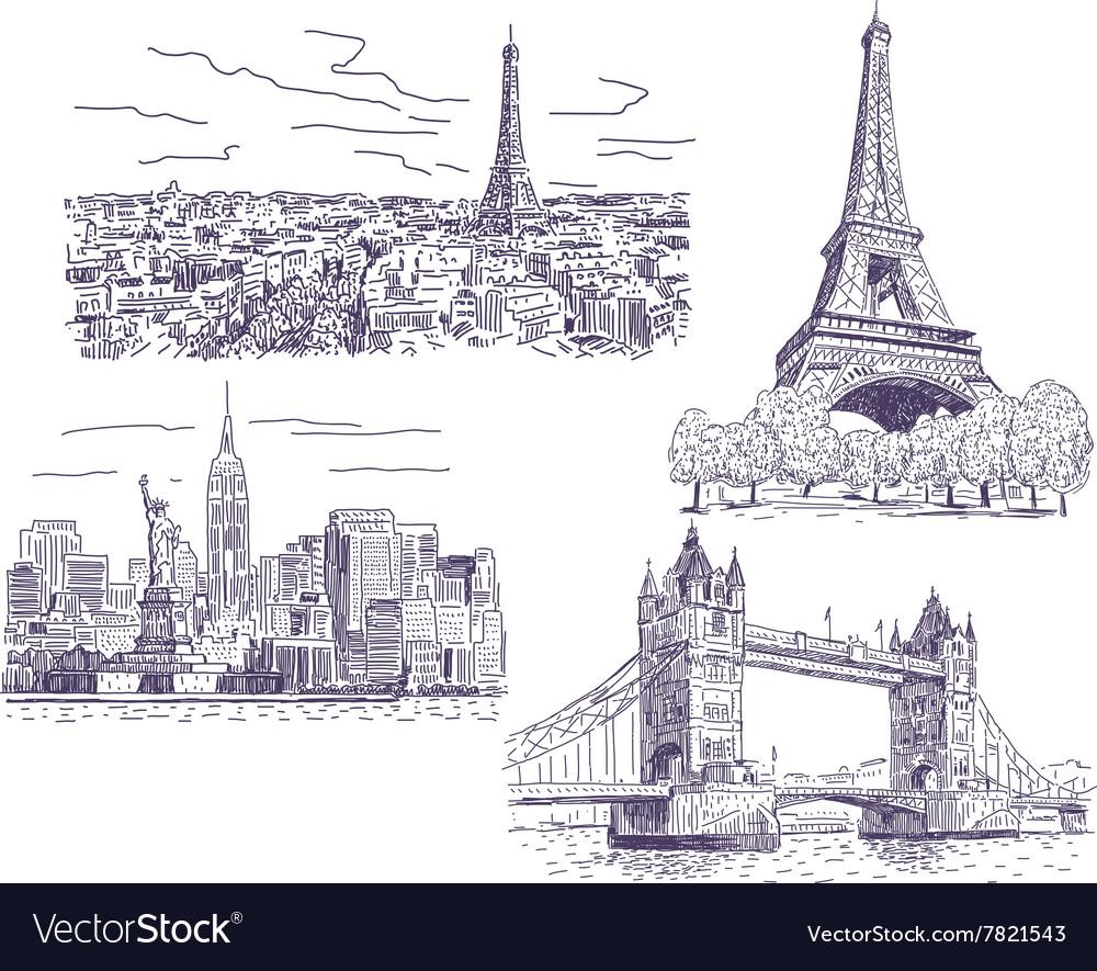 Sightseeings drawings set