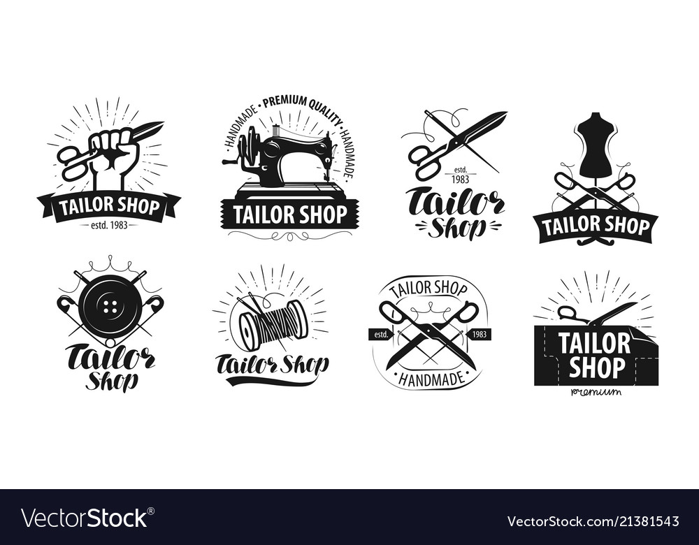 Tailor shop yarn logo or label tailoring concept