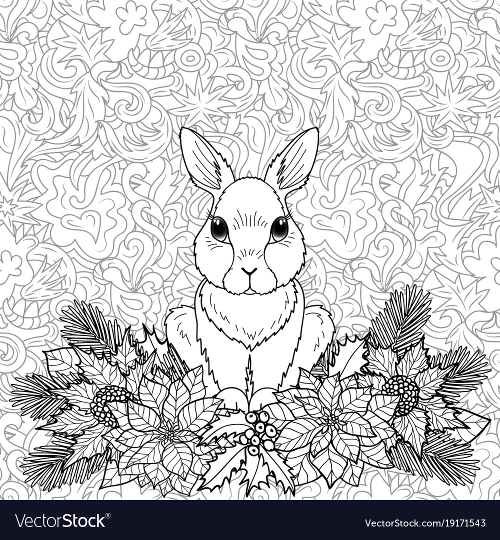 Winter coloring page with rabbit