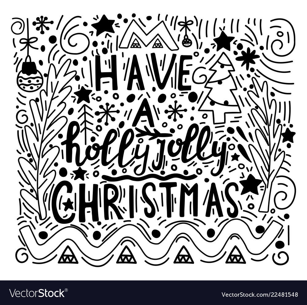Doodle style with merry christmas