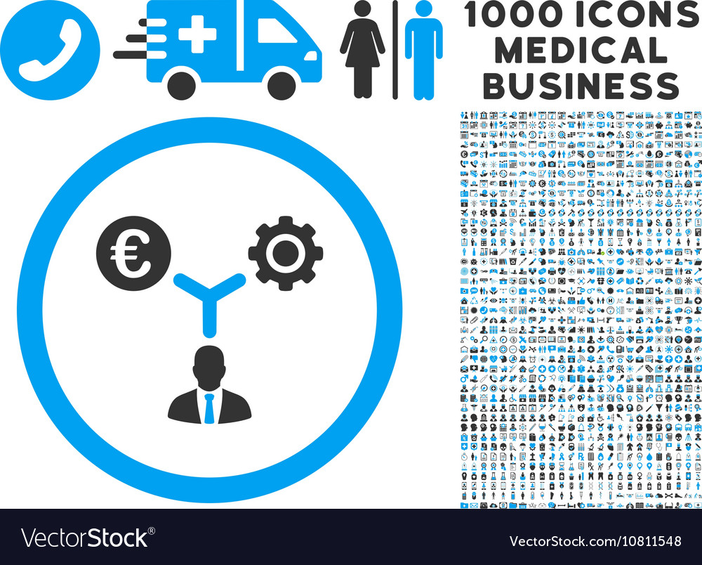 Euro Financial Development Icon with 1000 Medical