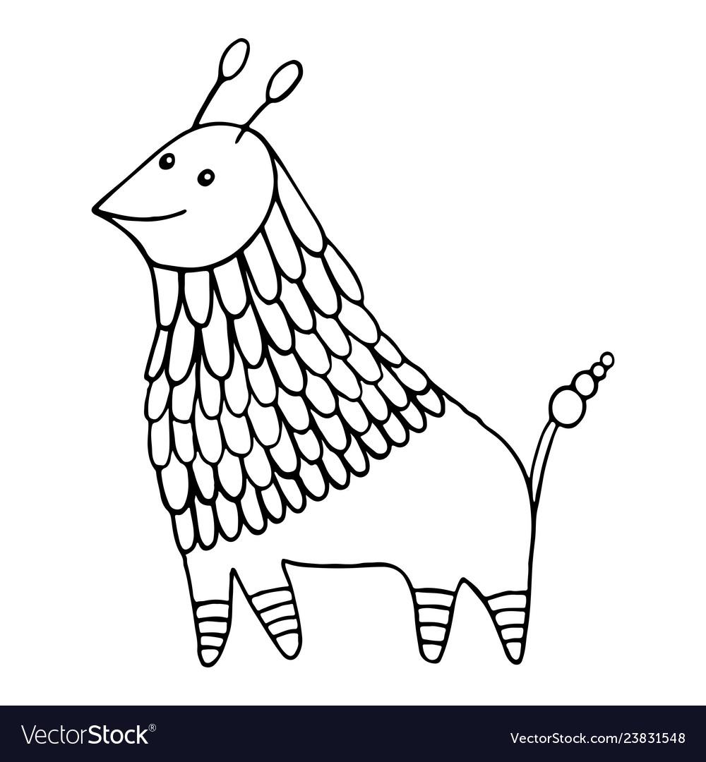 Fantasy animal character decorative coloring page