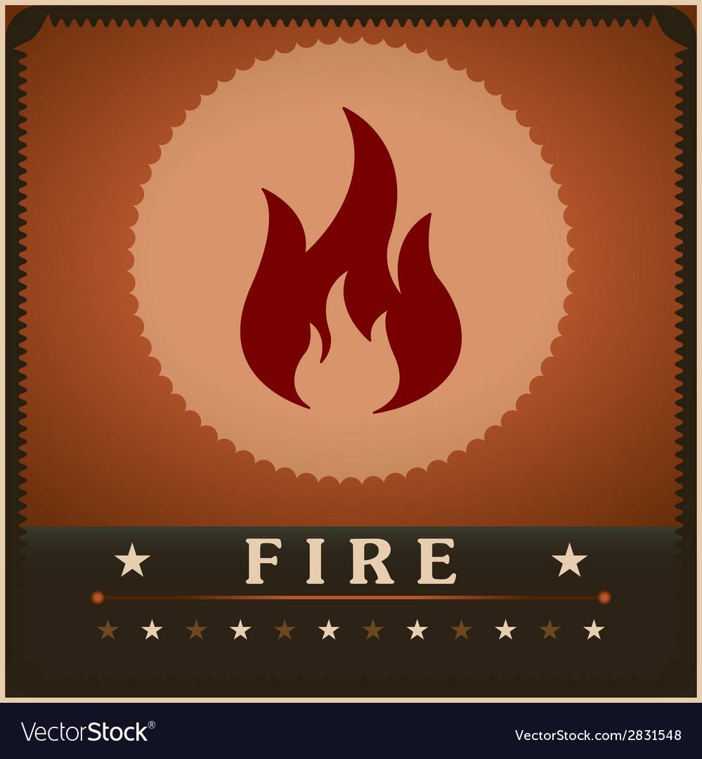 Fire flame poster creative design template vector image
